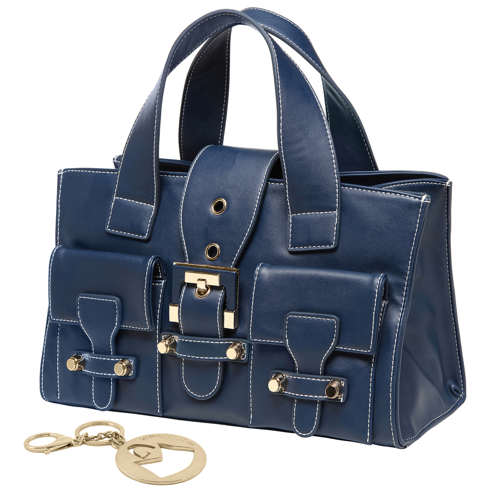 ANNA Oxford Blue Women's Designer Satchel Tote Handbag main image