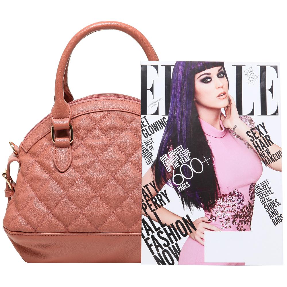 Imani pink quilted bowler designer handbag size comparison image