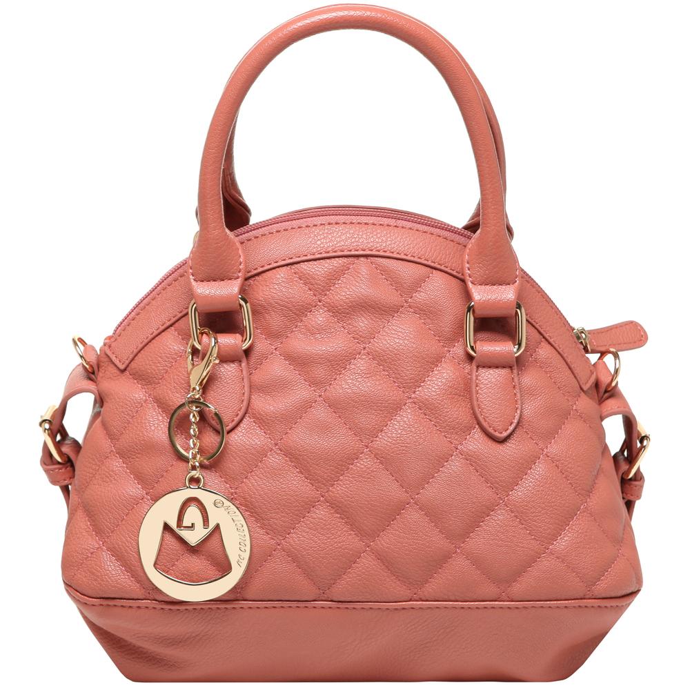 Imani pink quilted bowler designer handbag front image