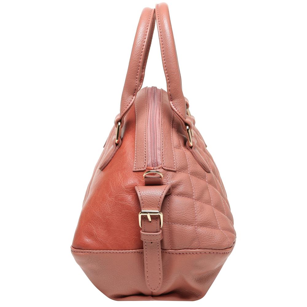 Imani pink quilted bowler designer handbag side image