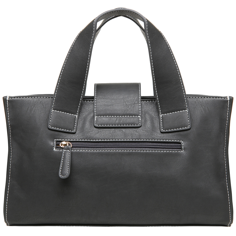 Anna Onyx Black satchel style womens designer handbag back image