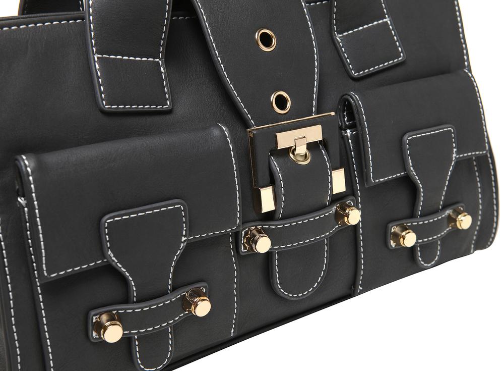 Anna Onyx Black satchel style womens designer handbag closeup image