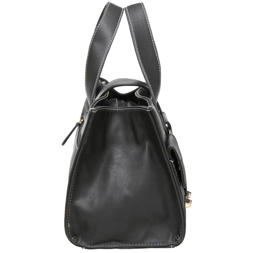 Anna Onyx Black satchel style womens designer handbag side image