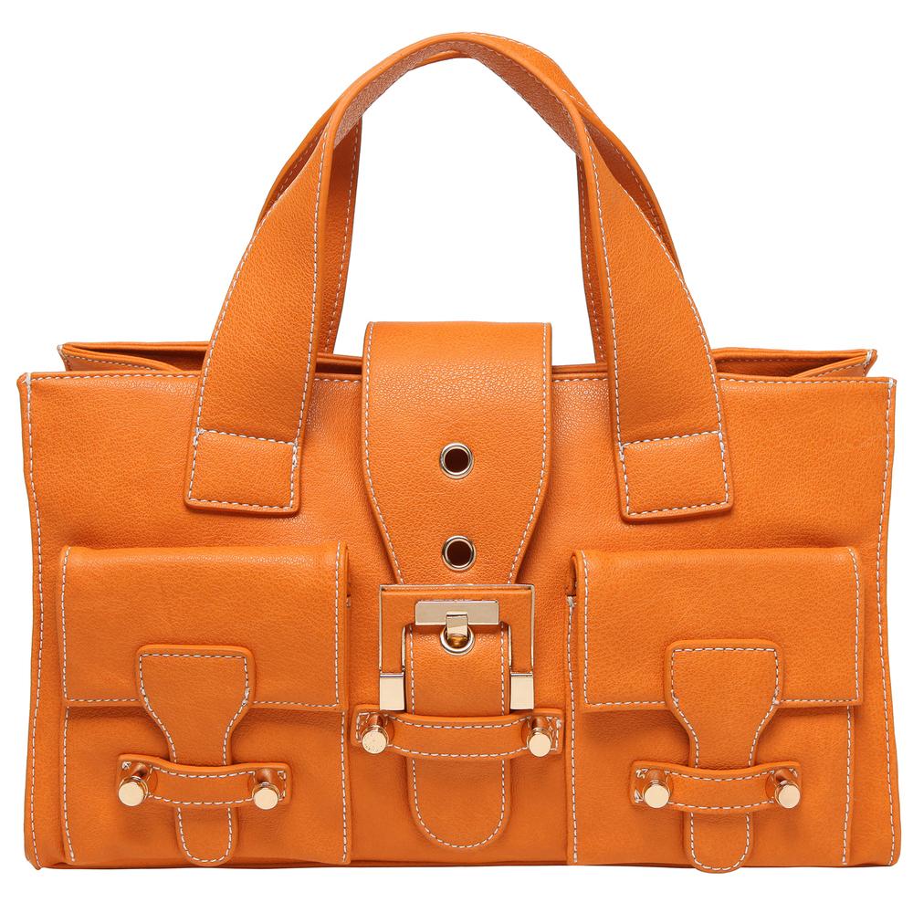 Anna Amber Orange satchel style womens designer handbag front image