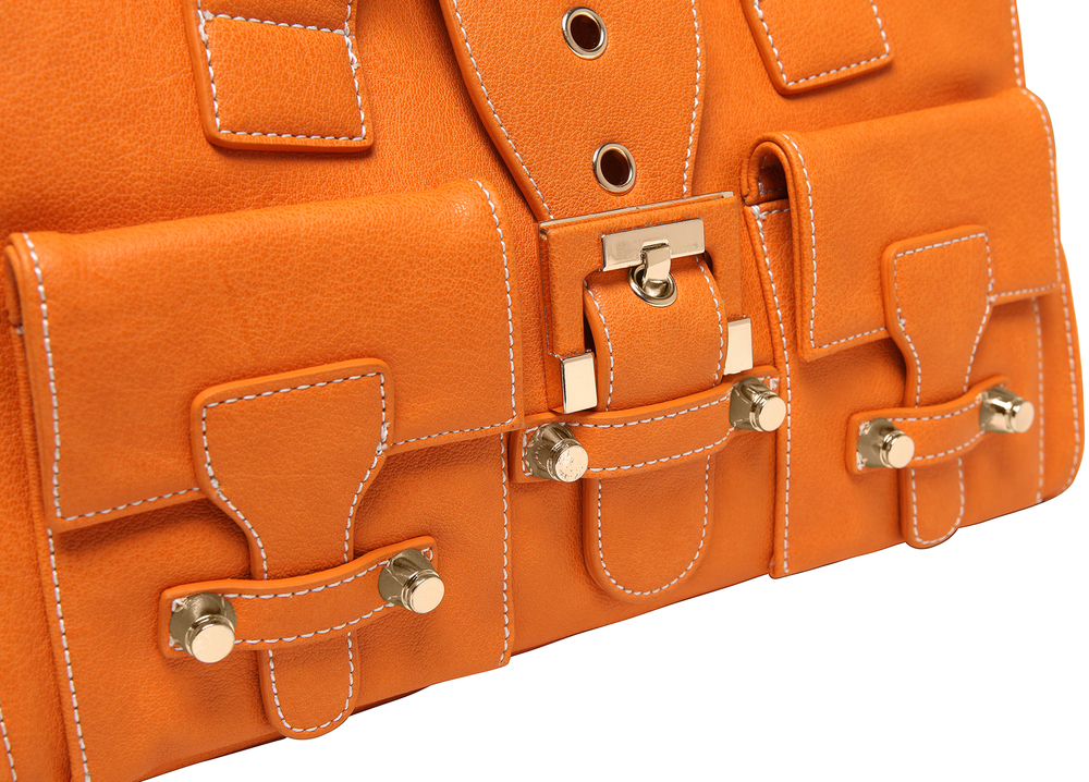 Anna Amber Orange satchel style womens designer handbag closeup image
