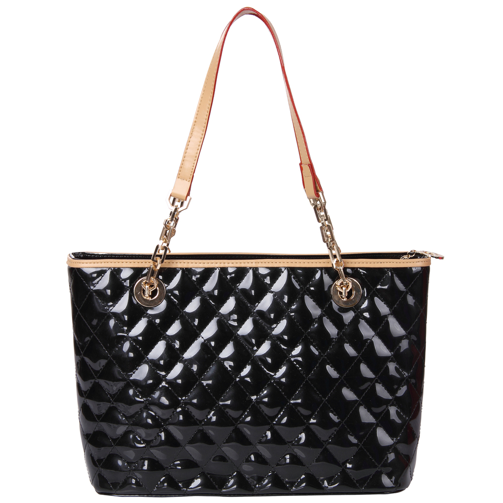 leryn black quilted patent leather designer shoulder bag tote front image