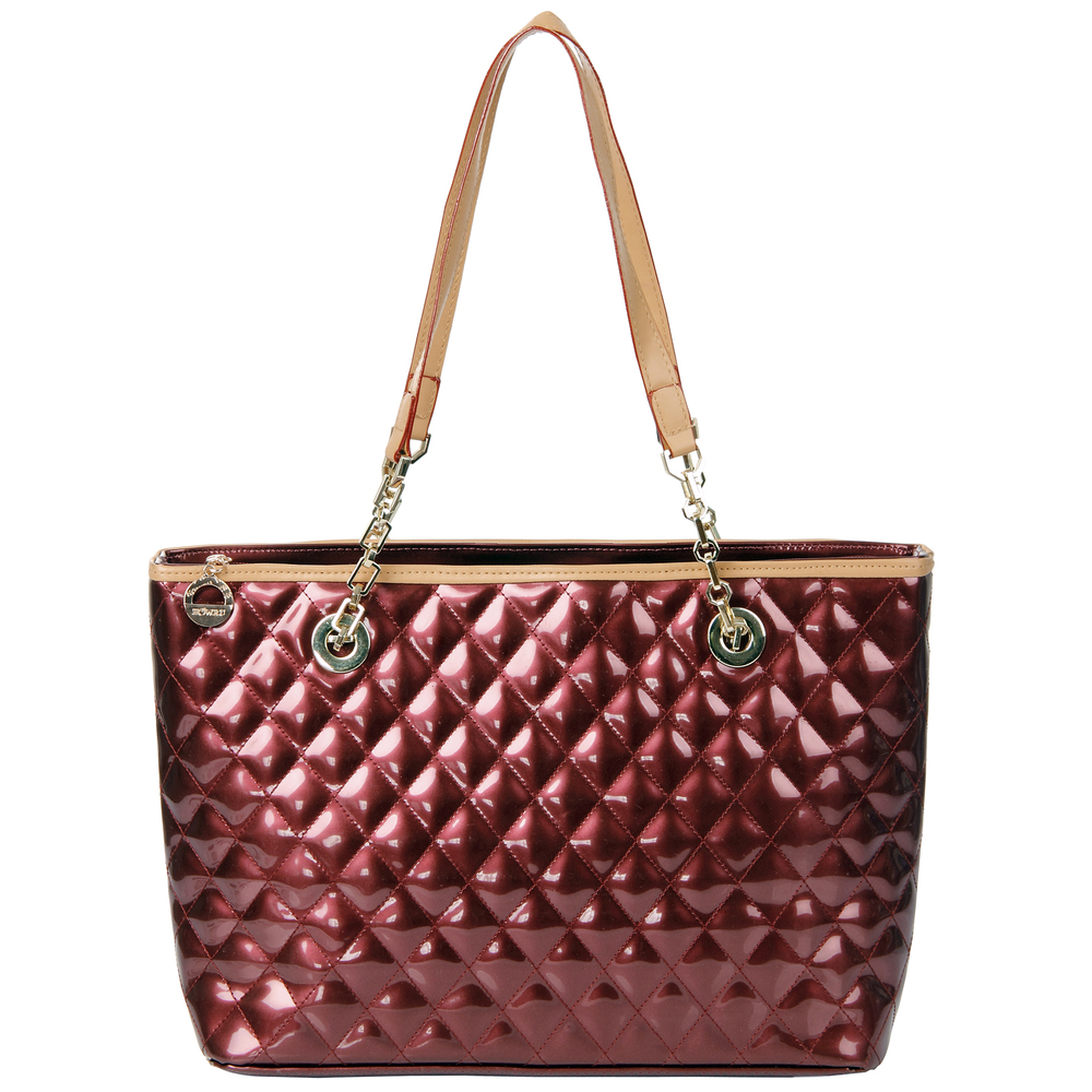 LERYN red quilted faux patent leather shoulder bag tote front image
