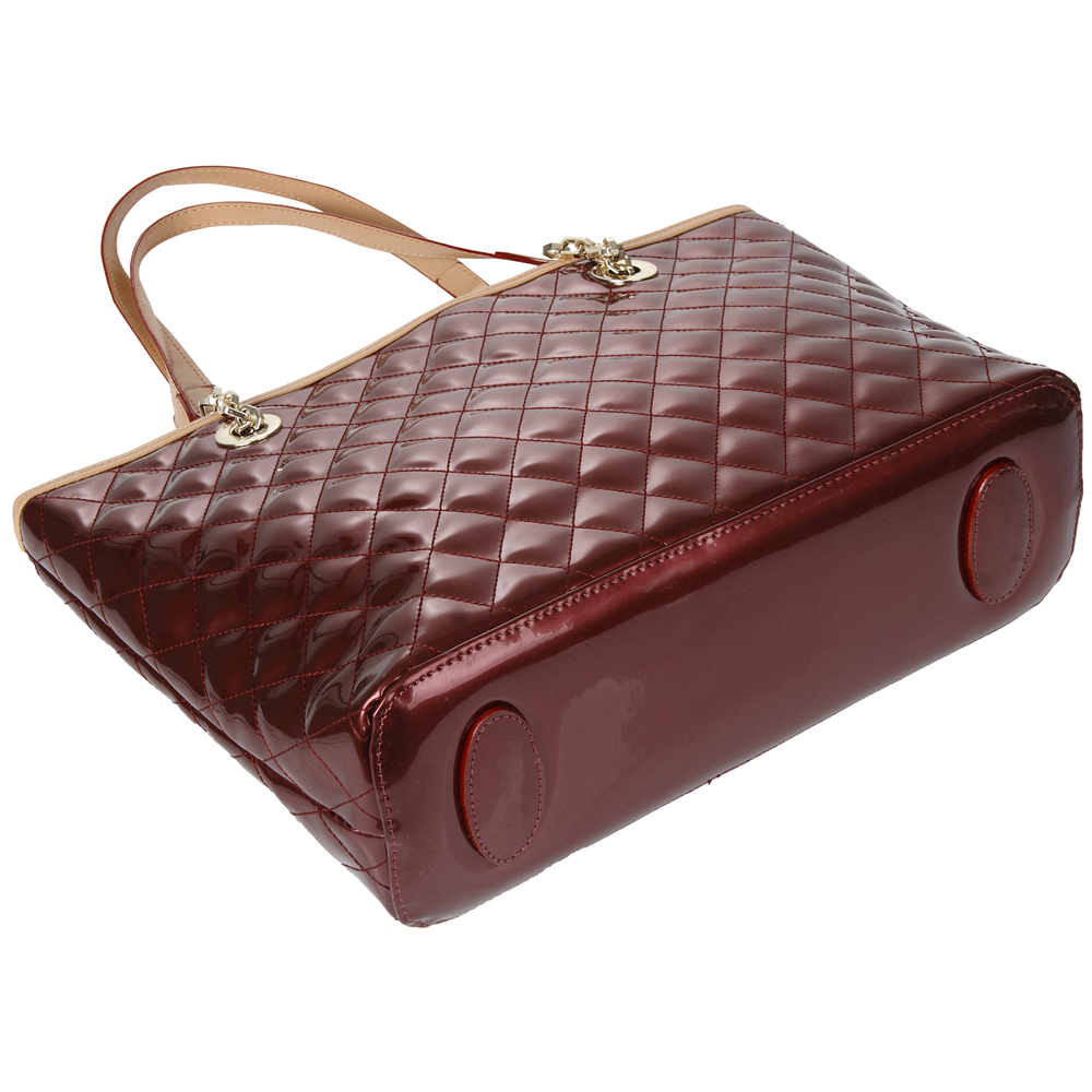 LERYN red quilted faux patent leather shoulder bag tote image of the handbag bottom