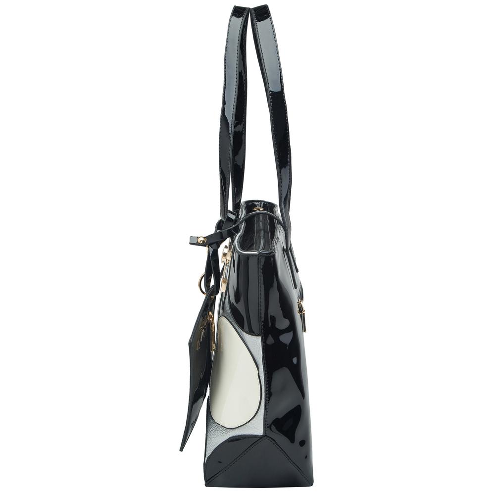 April retro leatherette top handle designer handbag side image
