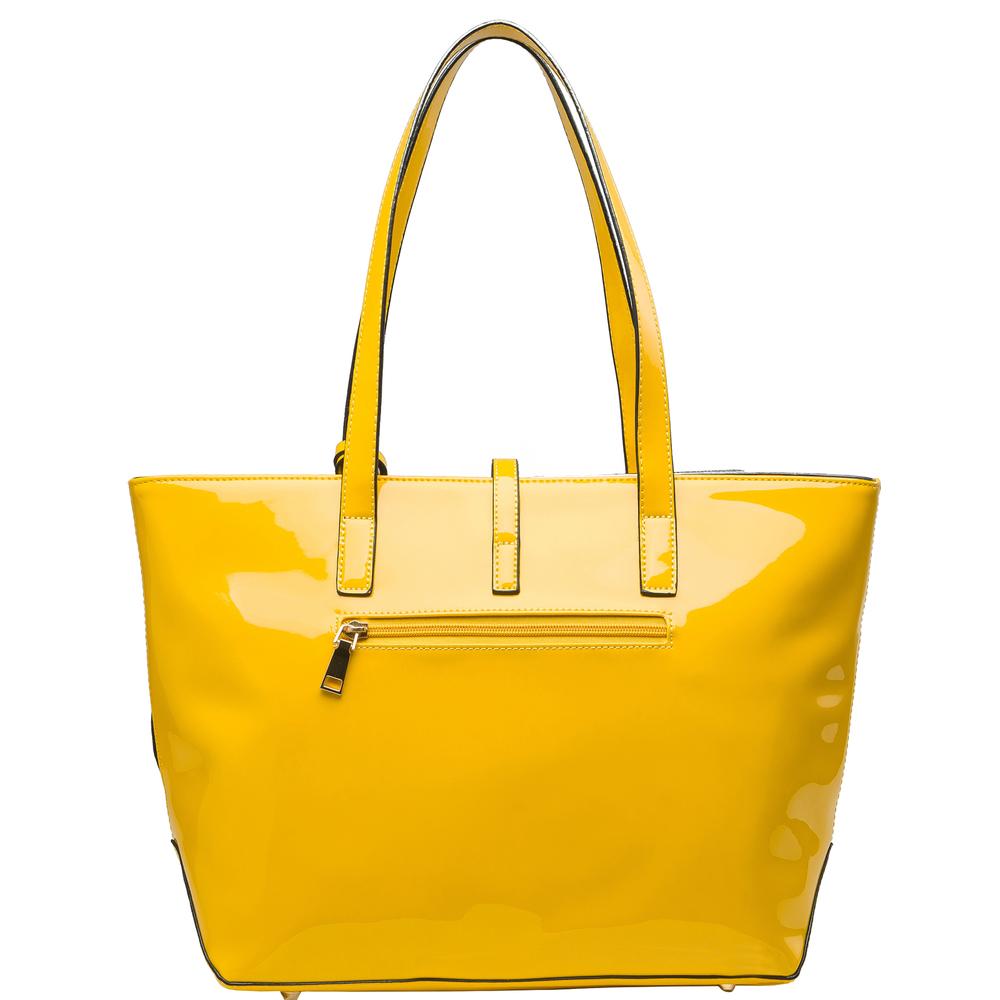 April Yellow retro top handle designer Handbag back image