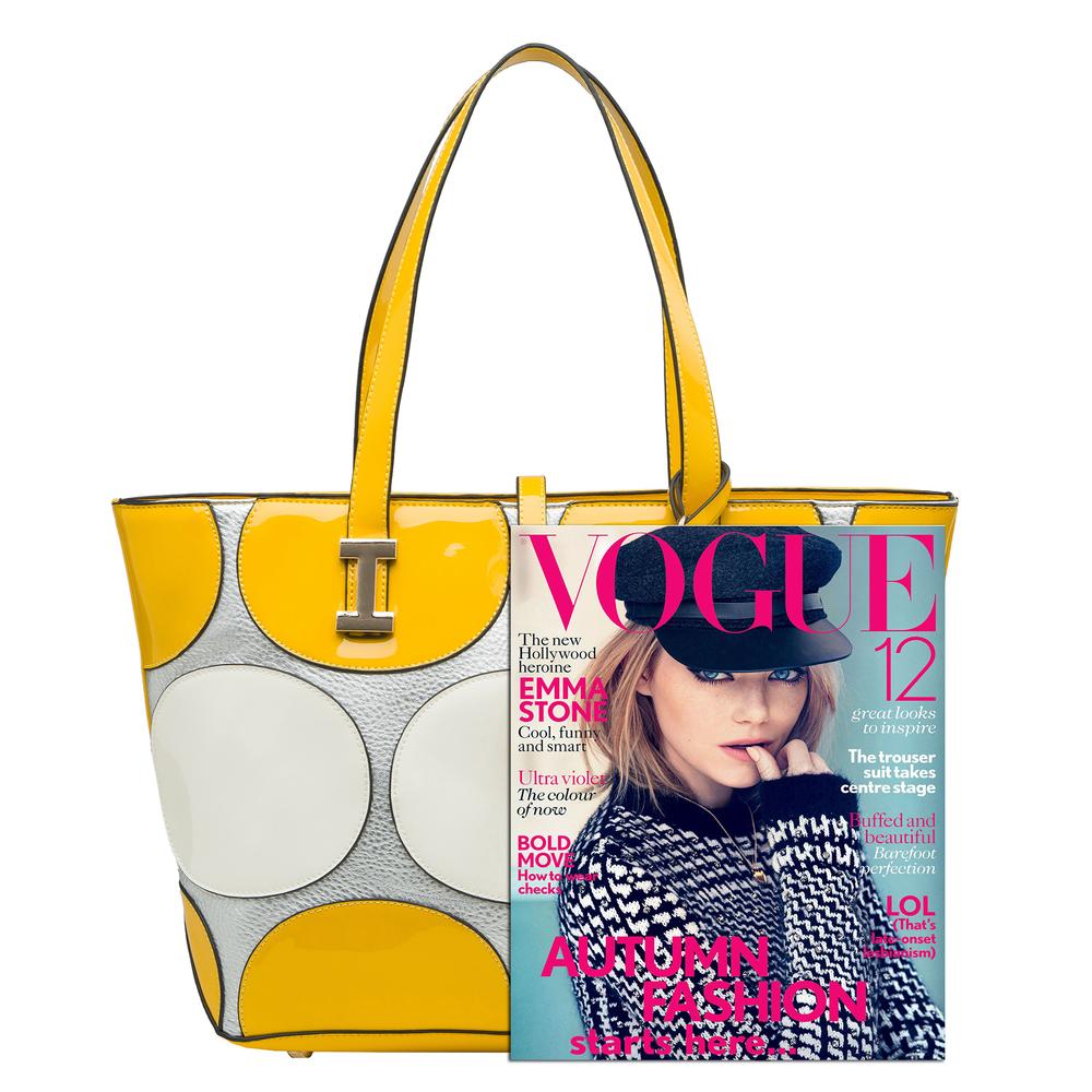 April Yellow retro top handle designer Handbag size comparison image