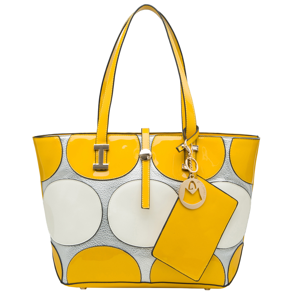 April Yellow retro top handle designer Handbag front image