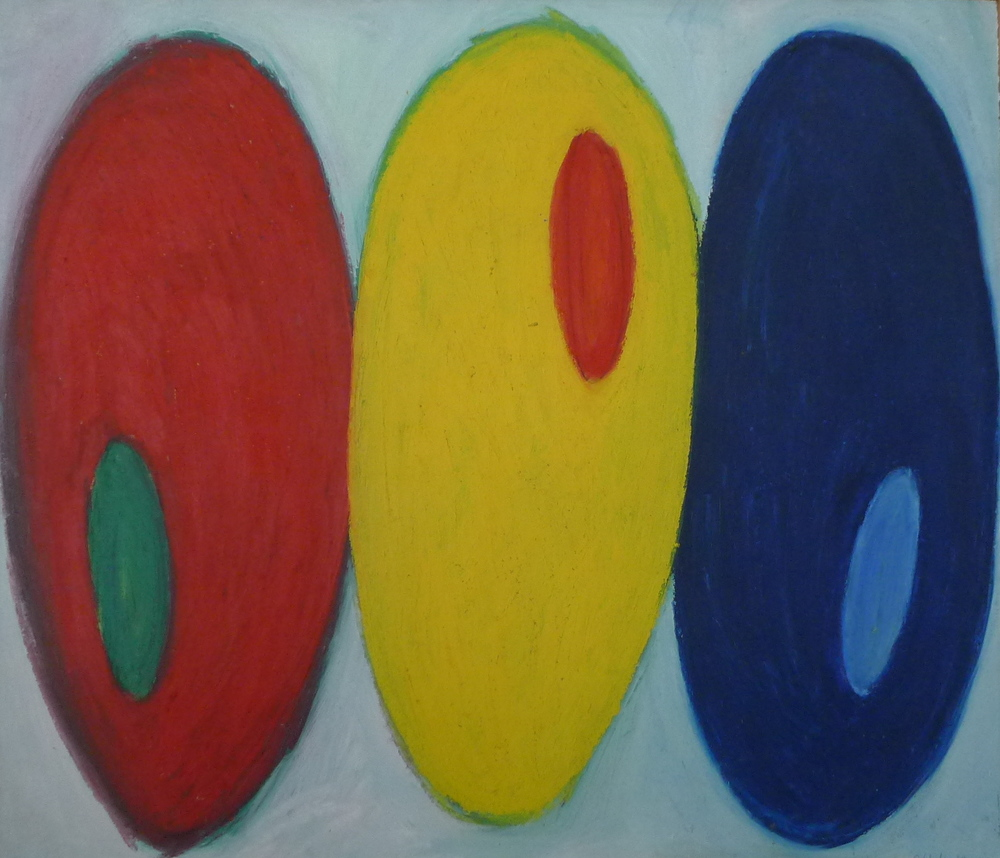"""Red, Yellow, Blue   oil on paper    36""""x42"""""""