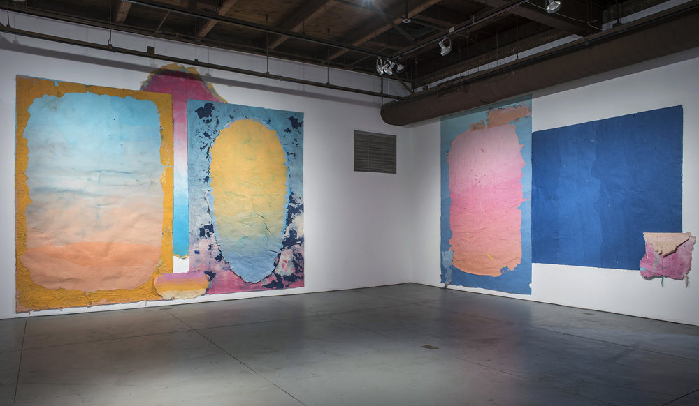 "Left: Composition for the End of Daylight, 132"" x 204"", kozo, dust, pollen, sun, water, fiber-reactive dyes, 2018.     Right: Composition for Two Lovers, 144"" x 183"", kozo, dust, pollen, sun, water, fiber-reactive dyes, 2018."