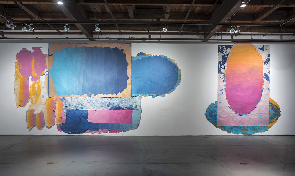 "Left: Composition for Holding the Whole, 156"" x 192"", kozo, dust, pollen, sun, water, fiber-reactive dyes, 2018.    Right: Composition for a Comet's Tail, 180"" x 156"", kozo, dust, pollen, sun, water, fiber-reactive dyes, repurposed paper, 2018."