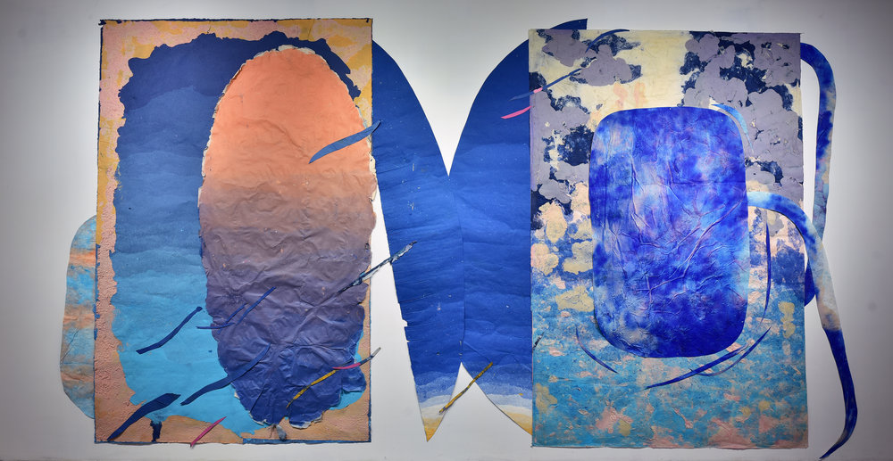 Composition for the Blue Shoulders of Evening, 2015 - present, 96 x 288 inches, Kozo, sun, dust, pollen, hair, fiber-reactive dyes, repurposed paper, water