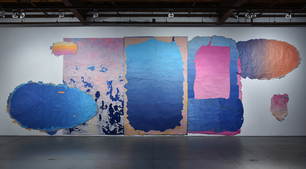 Composition for Walking Underwater, 2015 - present, 144 x 320 inches, Kozo, sun, dust, pollen, hair, fiber-reactive dyes, repurposed paper, water.