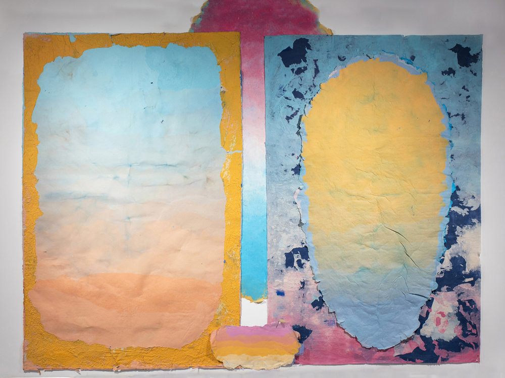 Composition for the End of Daylight, 2015 - present, 132 x 204 inches, Kozo, sun, dust, pollen, hair, fiber-reactive dyes, repurposed paper, water.