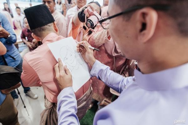 Farhan was tasked to sketch an image of Nurul in 1 minute.
