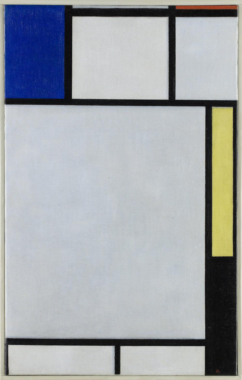 荷蘭抽象畫家蒙德里安 (Piet Mondrian) 的〈紅、黃、藍協奏曲的構成〉 (Composition with Blue, Red, Yellow and Black)。這件作品是從在2009年佳士得的伊夫•聖羅蘭 (Yves Saint Laurent)及皮埃爾•伯奇(Pierre Bergé) 的世紀拍賣中投得© Louvre Abu Dhabi / Thierry Ollivier © 2015 Mondrian / Holtzman Trust.jpg