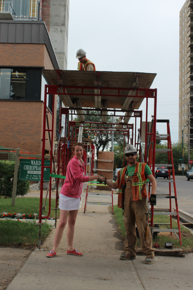 Ribbon Cutting, 2015. Davies' opens sidewalk for Edmontonians.