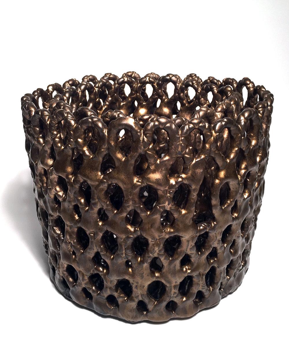 Bronze Bucket,  30h x 28w x 28d cm