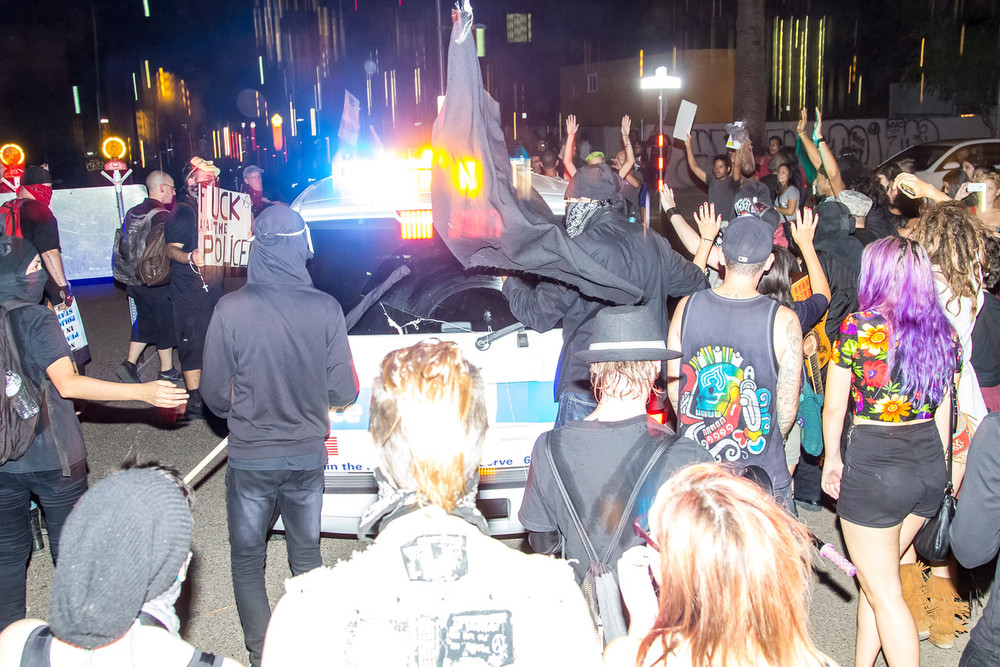 Protesters surrounded the cops at several points during the action.
