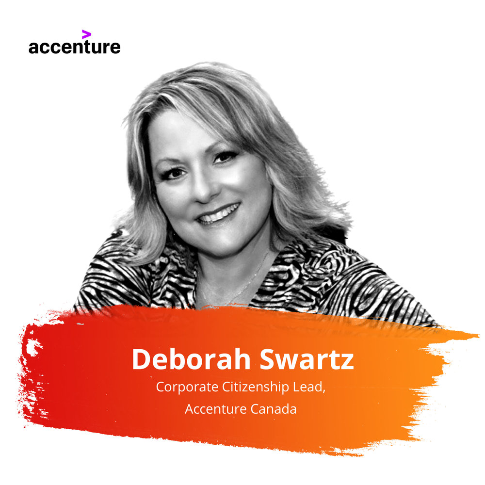 Client Success Story: Evolving from a Pledge-Based Program to Year-Round Goodness   Wednesday Feb. 27 | 2:00 – 2:45pm   Deborah Swartz leads Accenture's Corporate Citizenship (CC) program in Canadian, responsible for all aspects including Volunteering, Giving, Pro bono consulting, Grants, Skills to Succeed and their newest strategy focusing on the future of work and equipping people to thrive in the Digital Economy.  Equally passionate about Inclusion and Diversity, she leads the Women's ERG for Canada, and has been profiled in gender equality article with the Huffington Post.  Deb is a member of IAVE, the CCI Council with the Conference Board of Canada, previous Board of Volunteer Canada and former co-chair of their Corporate Volunteer Council.  Outside of work, you can find her on a yoga mat, volunteering, travelling, reading, or hanging out with family and friends.