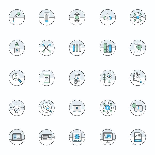 set of colored specific use medical/lab icons I designed for a project last year