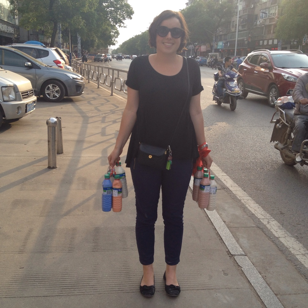 Me carrying home a selection of glazes!