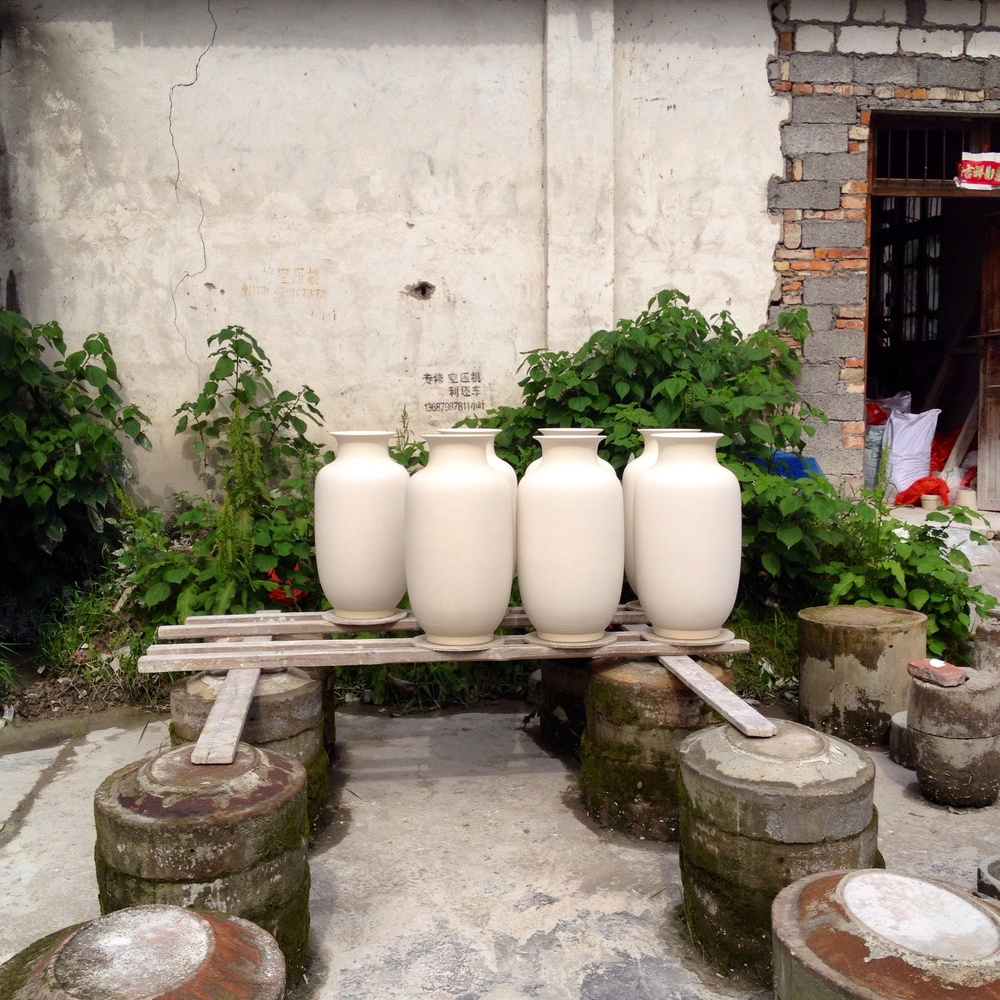 There is porcelain out drying in every little possible corner when the weather is good.