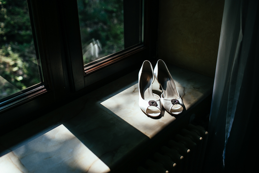 wedding shoes shadow forest