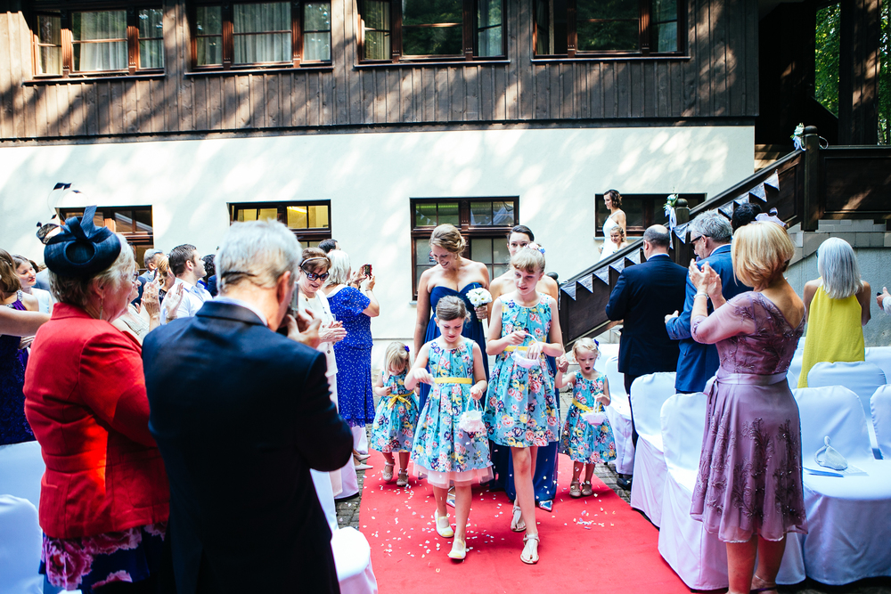 outdoor wedding ceremony procession destination wedding photography poland hotel opera