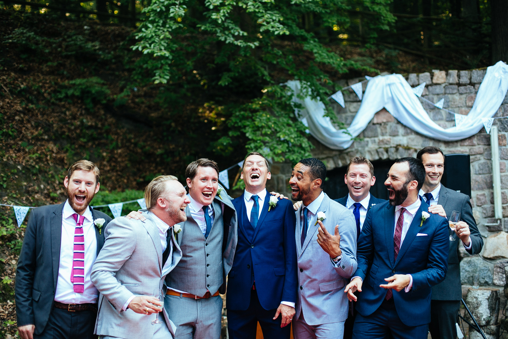 groom groomsmen ushers laughing group photograph destination wedding photography