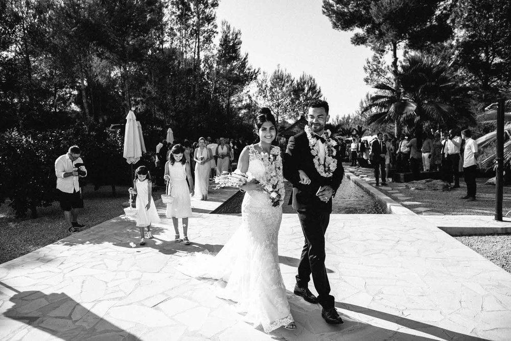 ibiza bride and groom black and white