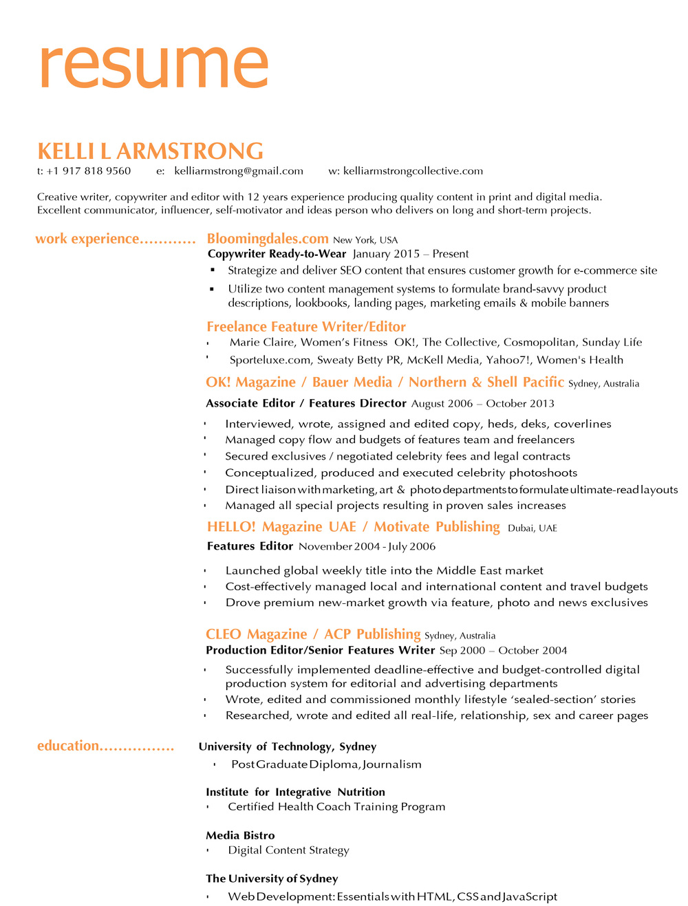 Resume Kelli Armstrong Collective