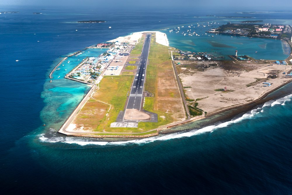 Male airport is like a giant aircraft carrier in the Indian Ocean