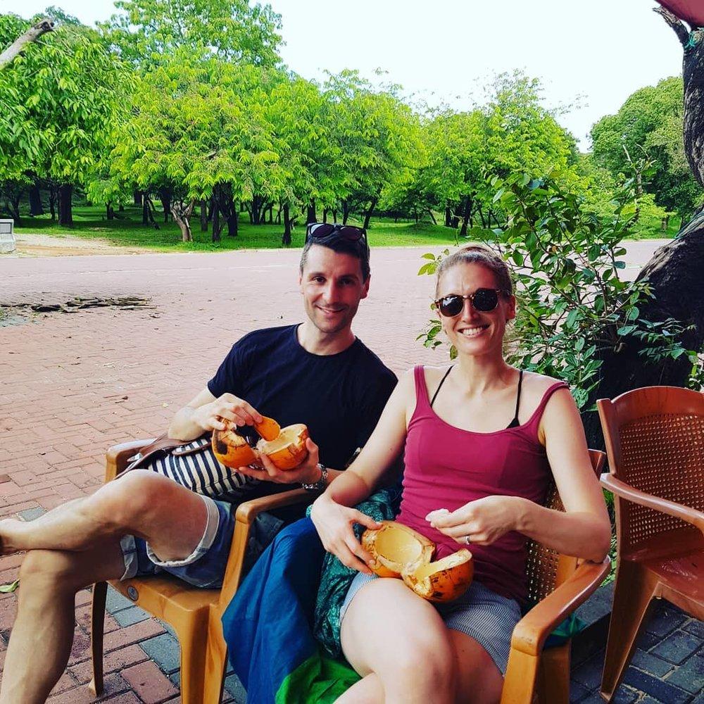 invite-to-paradise-sri-lanka-honeymoon-specialists-customer-guest-feedback-Paul-Traies-Chloe-Rowley-king-coconuts.jpg