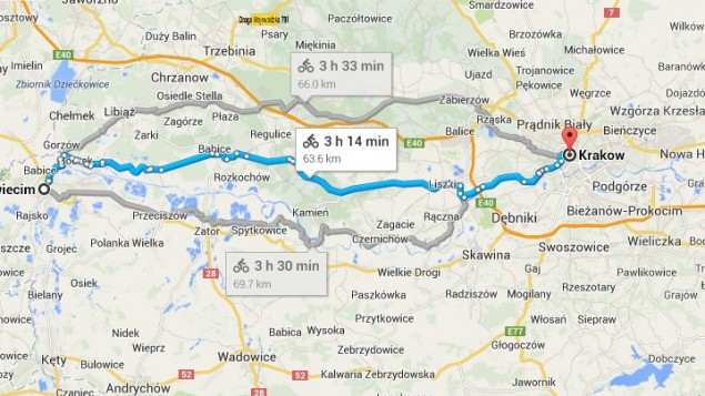 Image from Google Maps showing bicycle route from Auschwitz to Krakow, for the Ride for the Living event.