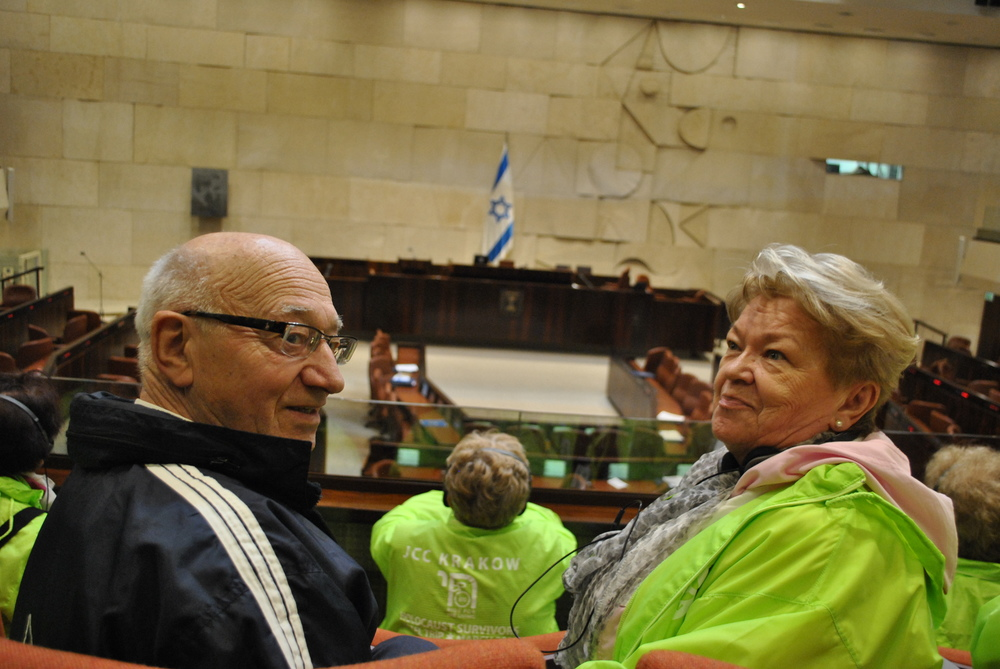 Ryszard and Elzbieta in the VIP section of the main hall of Knesset.
