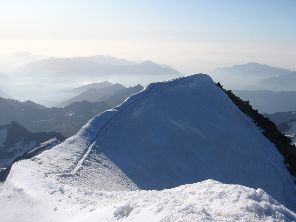 Looking towards Italy from the summit of the Weissmies
