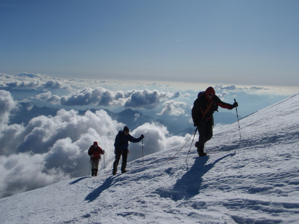 Approaching the summit of Mont Blanc, via the Trois Monts route