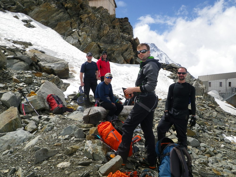 At the Tête Rousse hut, Mont Blanc