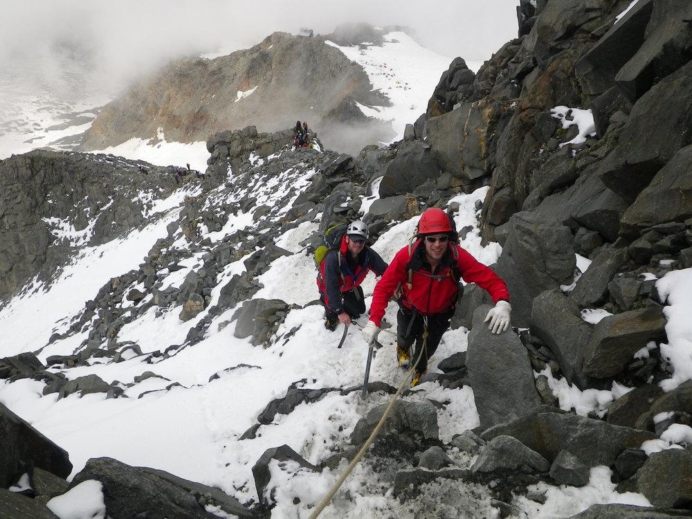 Ascending the Goûter Ridge to the Goûter hut, Mont Blanc