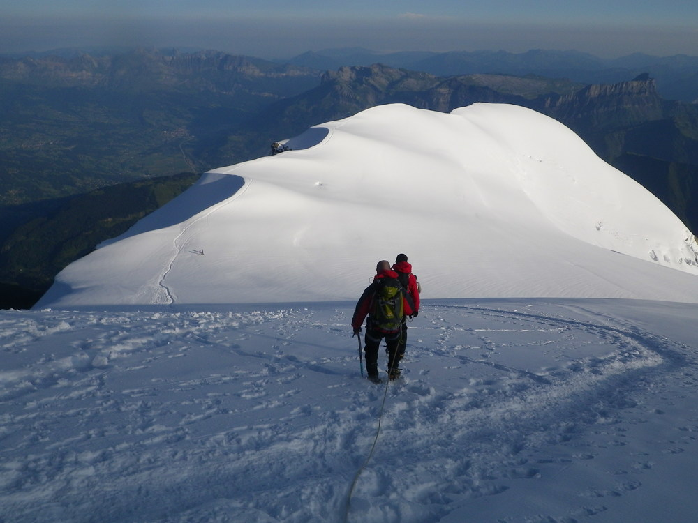Descending the Dome du Goûter after summitting Mont Blanc