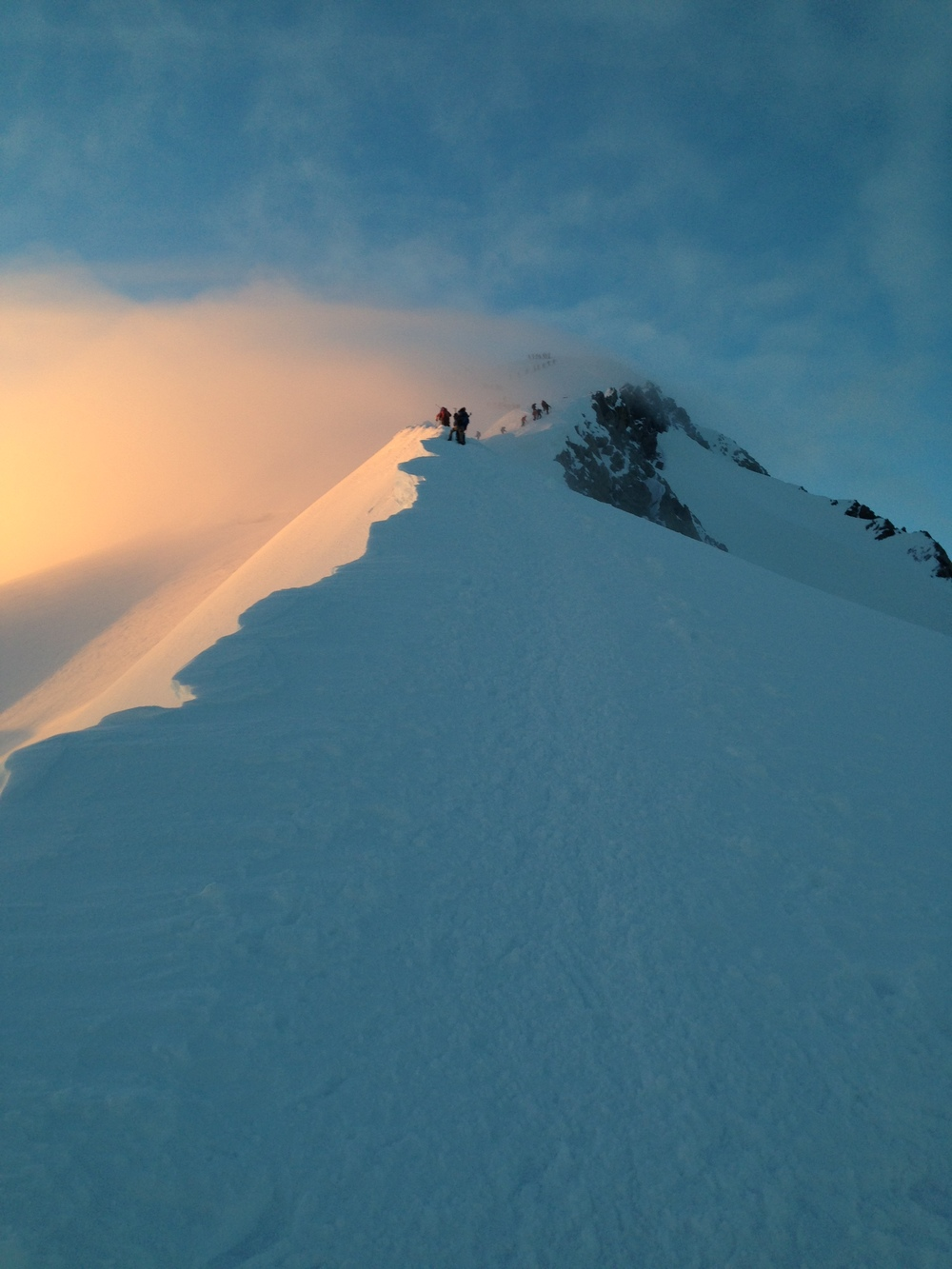 Approaching the summit of Mont Blanc on the Gouter route. Photo credit: Laurence Monnoyeur