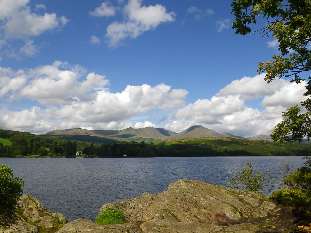 Dow Crag and Coniston Old Man from Peel Island on Coniston Water