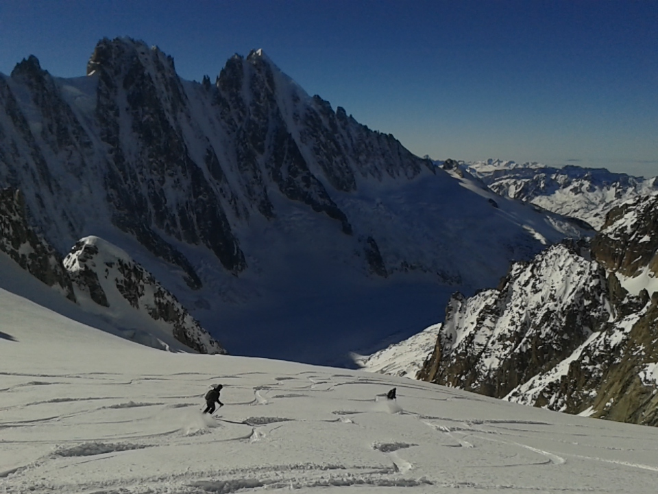 skiing down the glacier du amethyst in the chamonix valley