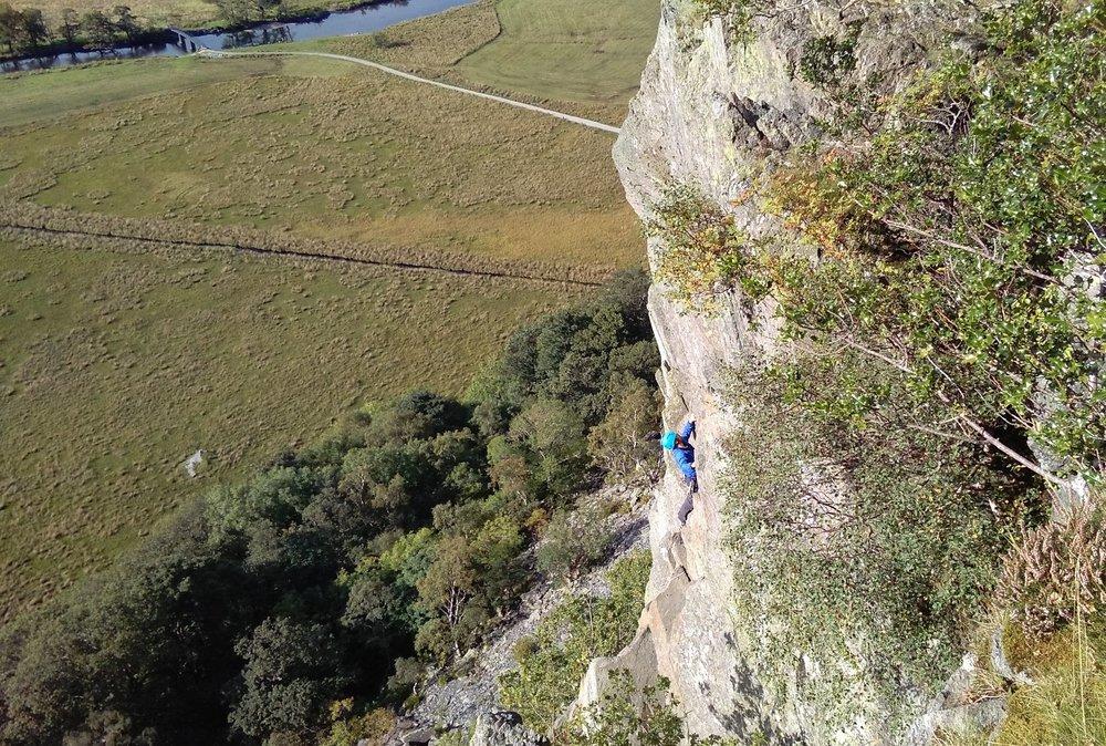 ROCK CLIMBING ON shepherd's crag, borrowdale, LAKE DISTRICT