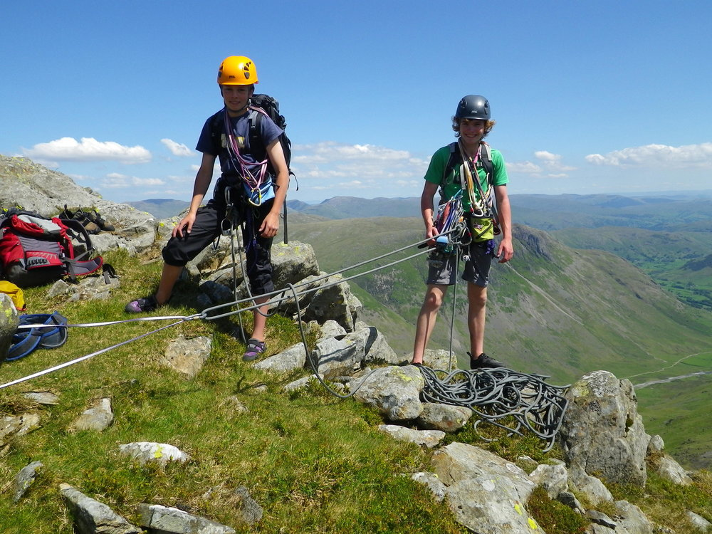 Arran and Elis at the top of Bowfell Buttress